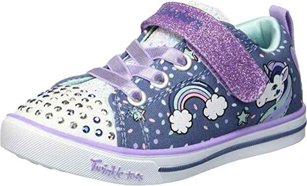 #5. Skechers Fabric & Synthetic Fun Unicorn & Rainbow Kid's Sparkle Lite Craze Sneaker