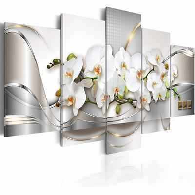 2. Everlands Art Extra-Huge Butterfly Orchid Flowers 5-Pcs Canvas Print Wall Art for Living