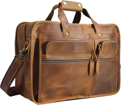 #1. Polare Full Grain Modern Messenger Bag Leather Business Laptop Briefcase for Men 17'' Bag