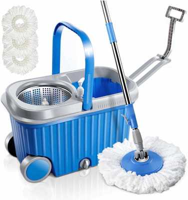 #8. MASTERTOP Microfiber Two Wheels Stainless Steel Spin Mop & Bucket Kit with 3 Mop Heads