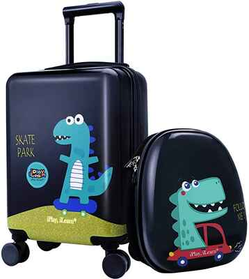 #7. IPLAY Carry-On Suitcase Hard Shell Kids Dinosaur Luggage Travel for Boys Children