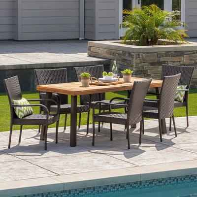 10. Christopher Knight Home 7 Pcs Leopold Acacia Wood with Teak Finish Outdoor Dining Set