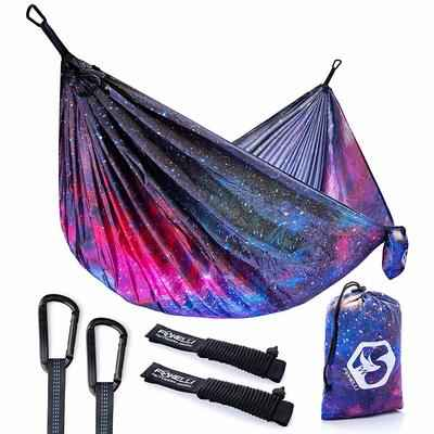 7. Foxelli Lightweight Portable Parachute Nylon Camping Hammock with Tree Ropes & Carabiners