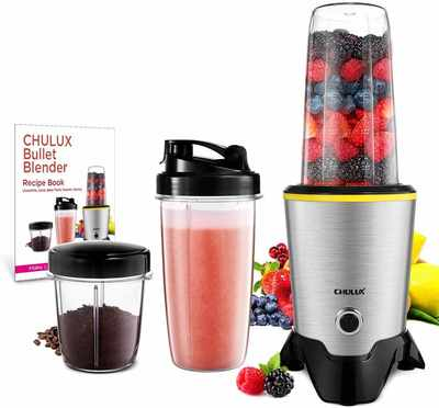 #5. CHULUX 1000W High-Speed Tritan 32 + 15 Oz Travel Bottles Smoothie Bullet Blender