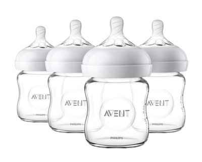 6. PHILIPS AVENT SCF701/47 4 Oz. 4 Pcs Flexible Spiral Design Natural Glass Baby Bottle