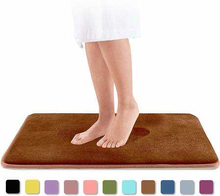 #8. Genteele Non-Slip Memory Foam Super-Cozy Absorbent Velvet Bath Mat (Brown)