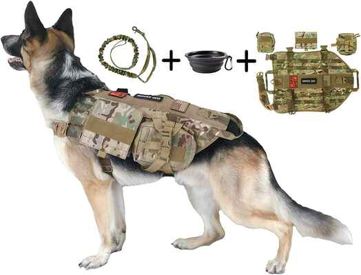 #1. TCS 3-Patches Collapsible BPA-Free Bowl 1000D Nylon Molle Vest Tri Cloud Tactical Dog Harness