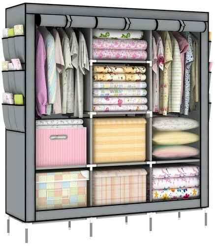 #6. OUMYJIA 51L X 17.5W X 69H '' Non-Woven Fabric Portable Clothes Closet Organizer (Grey)