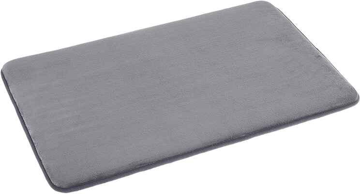 #10. AmazonBasics 18'' x 28'' Non-Slip Super-Absorbent Memory Foam Bath Mat (Grey)