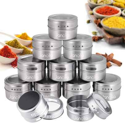 #10. Janolia 12 Magnetic Spice Containers Stainless Steel Round Seasoning Set w/Twist Top (Silver)