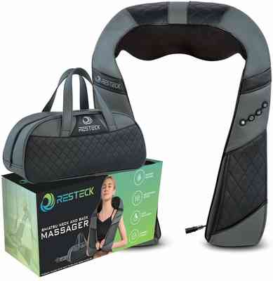 #1. RESTECK Control Heat & Stimulation On-The-Go Multipurpose Massager for Neck and Back