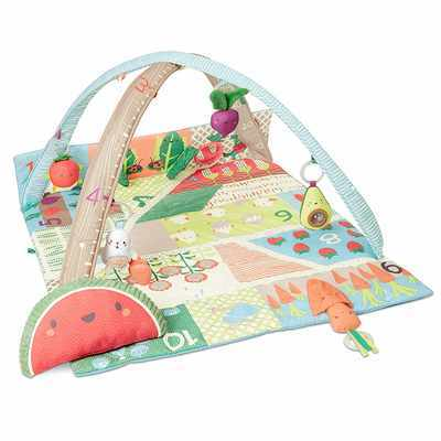 #4. Skip Hop Farmstand with Hanging Toys Extra-Large Grow & Play Gym Baby Play Mat