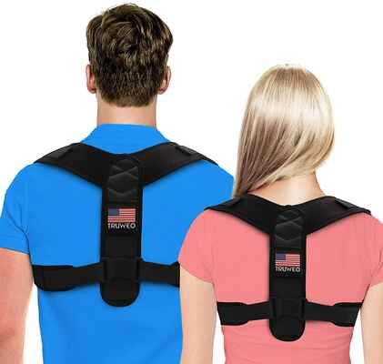 #7. TRUWEO Universal Adjustable Upper Back Brace Posture Corrector for Women & Men