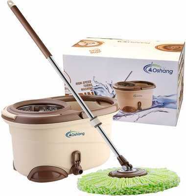 #5. Oshang EasyWring Hand-Free 2 Washable & Reusable Microfiber Cleaning Spin Mop and Bucket