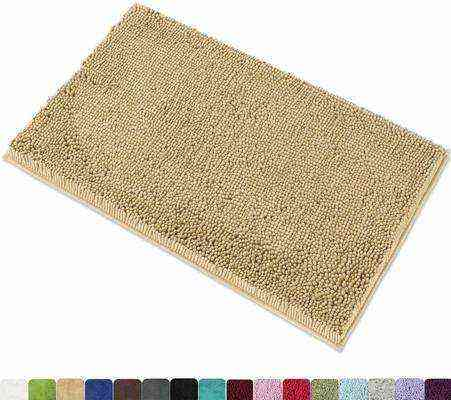 #6. MYSHINE Non-Slip Machine Washable Water Absorbent Microfiber Bathroom Rug Bath Mat (Beige)