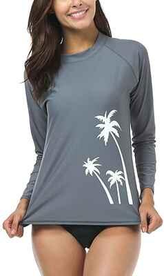 #2. WETOPKIM Long Sleeve Surfing Guard Swim Shirt Rashguard Women's Tops Swimwear