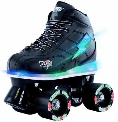 #6. Crazy Skates Ultra-Bright Lights & Flashing Lightning Bolt Roller Skates for Boys (Black Patines)