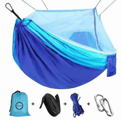 9. ERUW Portable Parachute Nylon Fabric Camping Hammock with Mosquito Net (110''L X59''W)