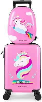 #6. IPLAY Unicorn Pink Girls Travel Suitcase Carry-On Kid's Luggage Set w/Spinner Wheels