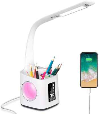 #9. Donewin 10W Colorful Night Light Eye-Caring LED Desk Lamp w/USB Charging Port