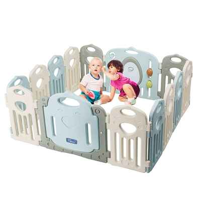 #7. TCBunny 14-Panel Safety Play Yard Home Indoor Outdoor New Baby Playpen & Activity Center