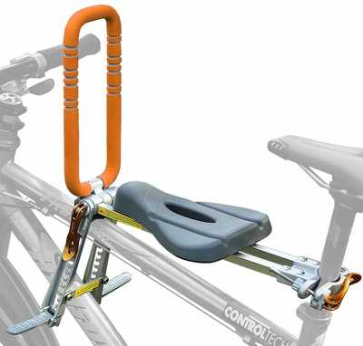 #9. UrRider Ultra-Light Foldable & Portable Front Mount Child Bicycle Carrier with Handrail