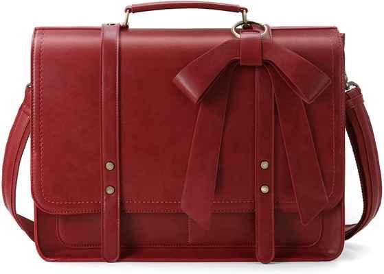 #9. ECOSUSI 15.6'' Professional Shoulder PU Leather Laptop Bag for Women w/Detachable Bow Fits