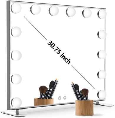 #5. NITIN Silver Tabletop/Wall-Mounted Lighted Vanity Mirror w/Touch Control Design