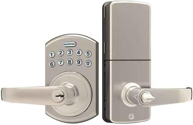 #7. SIGNSTEK Password/Key Accessible LED Backlit Entry Lever Door Lock (Satin Nickel)