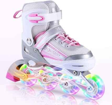 #4. Kexuan All Wheels Illuminated Inline Skates Adjustable for Kids Girls Ladies