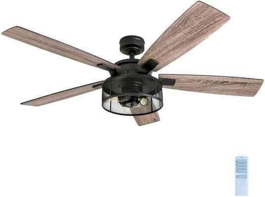 #5. Honeywell 52'' 50614-01 Rustic Barnwood Blades Indoor Ceiling Fan (Matte Black)
