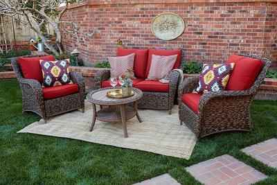 2. Quality Outdoor Living 65-517109A 4 Pcs All-Weather Wicker Brown Red Cushions Seating Set