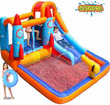 #4. MEIOUKA 7-in-1 Kids Inflatable Bounce House Castle Slide with Blower Water Slide Pool