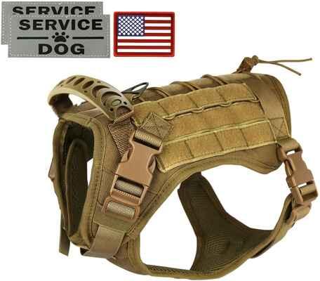 #5. Hanshengday Water-Resistant Comfortable Outdoor Tactical Service Dog Vest Harness w/Handle