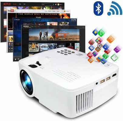 #9. ERISAN LED Android Wi-Fi Bluetooth 220 ANSI Lumen 1080p HD Projector Video Home TV Theater