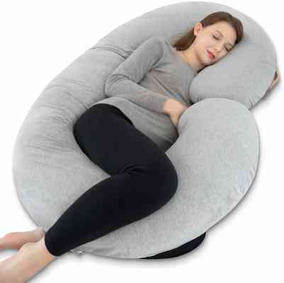 #5. INSEN Comfortable C-shaped with Jersey Cover Maternity Full Body Pillow for Pregnant Women
