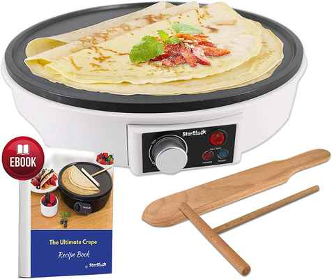 #7. StarBlue 12'' AC 120V 1000W Compact Easy Clean Crepe Maker Non-Stick Portable Pan