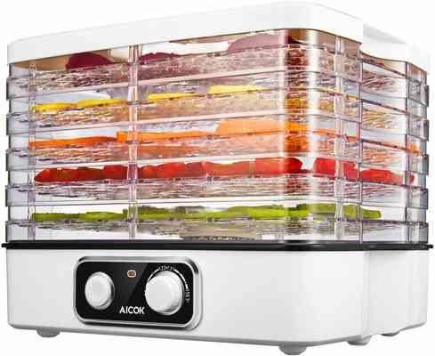 #9. AICOK 5-Tray Extensive Capacity Temperature Control BPA-free 5-tray Food Dehydrator Machine