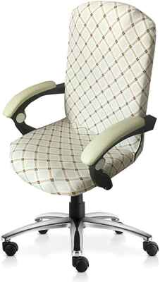 #7. Mocaa M006 High Back Office Computer Stretchable Large Chair Covers (White Square)