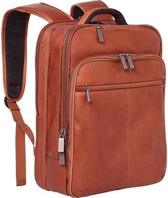 #5. Kenneth Cole Cognac 16'' Laptop & Tablet RFID Reaction Manhattan Leather Laptop Bag