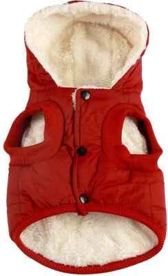 #6. Vecomfy Hooded Cotton Lining Extra-Warm Fleece & Cotton Small Dog Jacket Puppy Coats