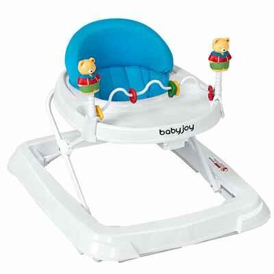 #7. Baby Joy Foldable Activity Walker Helper w/Adjustable Height & Back Padded Seat (Pink)