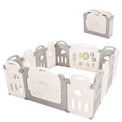 #5. Fortella 14-Panel Indoor Outdoor Cloud Castle Foldable Baby Safety Yard w/Whiteboard