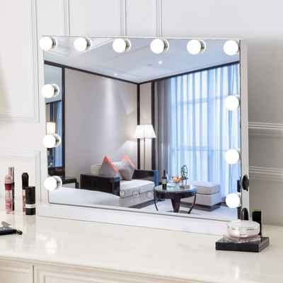 #6. HOMPEN White Lighted Makeup Mirror Vanity Mirror w/LED Dimmable Bulbs