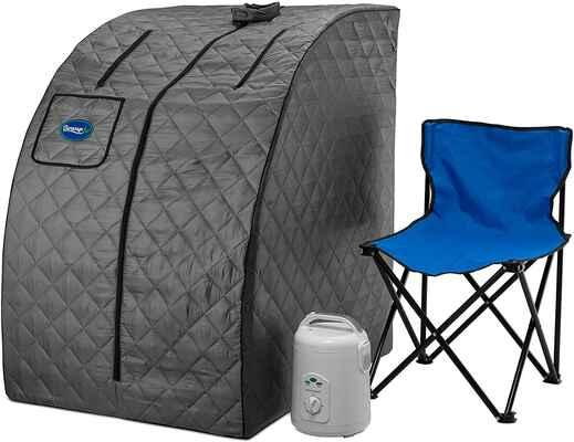 #1. Durasage 800W Lightweight Personal Portable 60Min Timer Steam Sauna Spa (Grey)