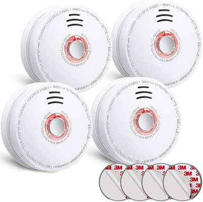 #4. SITERWELL UL-Listed GS528A Battery Operated 9V 4Pcs Smoke Detector Fire Alarm