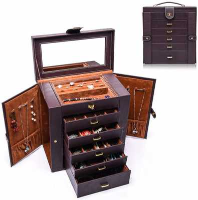 #6. Uptizer Large 6-Layer Removable Drawers Leather Jewelry Box for Women (Brown)
