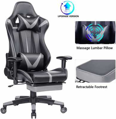#7. Blue Whale Ergonomic High-Back Racing with Headrest & Lumbar Support PC Gaming Chair (Grey)