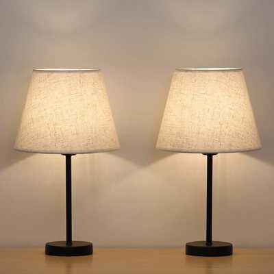 #7. HAITRAL Small Set of 2 Fabric Shade 15'' Bedside Table Lamps for Living room & Bedroom (Black)