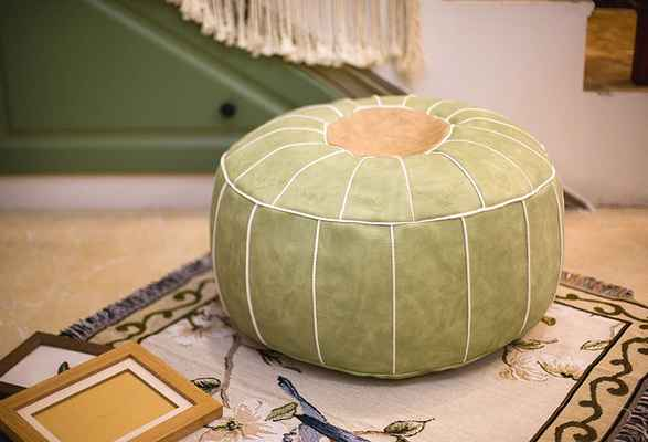 #8. RISEON Boho Handmade FAUX PU Leather Moroccan Ottoman Leather Round Footstool (Green)